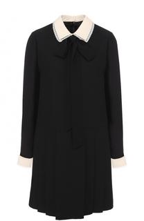 Мини-платье с контрастными воротником и манжетами Valentino