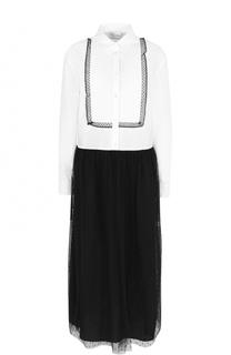 Платье-рубашка прямого кроя с контрастной юбкой REDVALENTINO