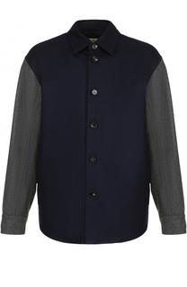 Шерстяная куртка свободного кроя с контрастными рукавами Marni