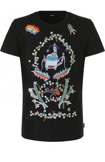 Хлопковая футболка с контрастной вышивкой Diesel