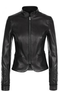 Приталенная кожаная куртка с воротником-стойкой REDVALENTINO