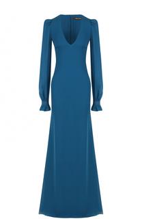 Шелковое платье-макси с V-образным вырезом Roberto Cavalli
