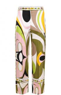 Шелковые брюки прямого кроя с принтом Emilio Pucci