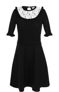 Приталенное мини-платье с кружевной вставкой REDVALENTINO