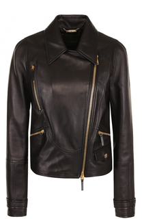 Кожаная куртка с отложным воротником и косой молнией Roberto Cavalli