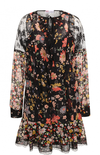 Шелковое мини-платье с цветочным принтом REDVALENTINO