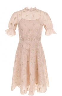 Вязаное платье-миди с цветочной вышивкой Valentino