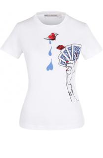 Хлопковая футболка с контрастной вышивкой Mary Katrantzou
