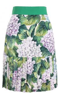 Юбка с цветочным принтом и оборкой в складку Dolce & Gabbana