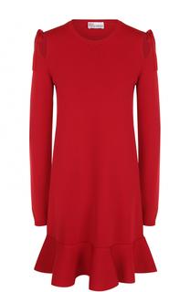 Мини-платье с длинным рукавом и оборкой REDVALENTINO