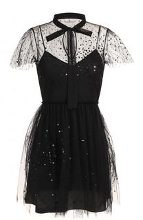 Приталенное мини-платье с воротником аскот REDVALENTINO