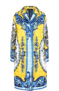 Шелковое стеганое пальто с принтом Dolce & Gabbana