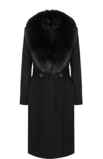 Кашемировое пальто с отделкой из меха лисы Roberto Cavalli