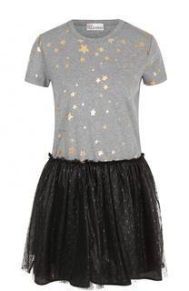Платье-футболка с контрастной юбкой REDVALENTINO