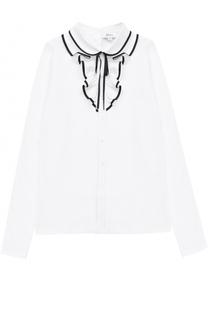 Блуза прямого кроя с оборками и контрастной отделкой Aletta