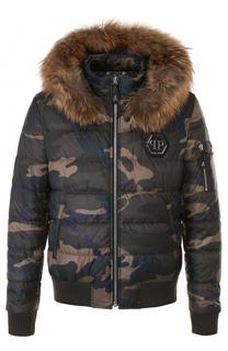 Стеганая куртка на молнии с меховой отделкой капюшона Philipp Plein