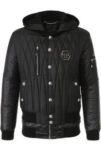 Стеганая куртка на молнии с капюшоном Philipp Plein