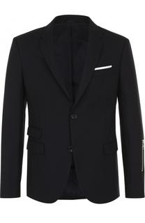 Шерстяной однобортный пиджак с декоративной молнией Neil Barrett