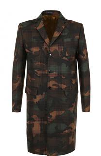 Шерстяное однобортное пальто с камуфляжным принтом Valentino