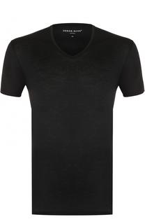 Хлопковая футболка с V-образным вырезом Derek Rose