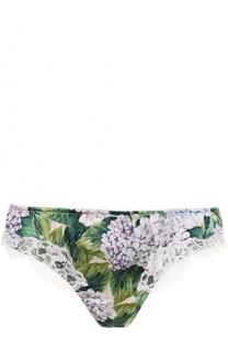 Трусы с цветочным принтом и кружевной отделкой Dolce & Gabbana