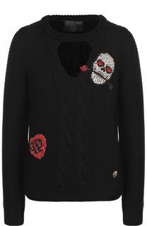 Шерстяной пуловер фактурной вязки со стразами Philipp Plein