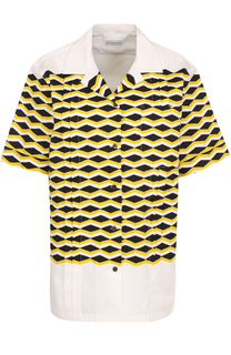Хлопковая блуза с принтом и коротким рукавом Dries Van Noten