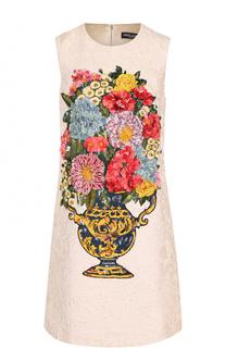 Мини-платье А-силуэта с фактурной отделкой Dolce & Gabbana