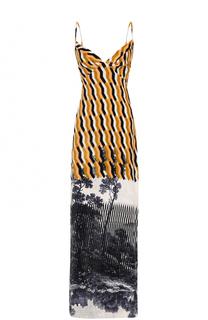 Платье-макси с принтом и V-образным вырезом на спинке Dries Van Noten