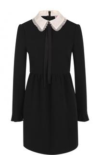 Мини-платье с контрастным воротником и завышенной талией REDVALENTINO