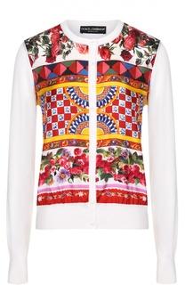 Шелковый кардиган с вязаными рукавами и ярким принтом Dolce & Gabbana