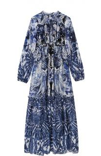 Шелковое платье-макси с завышенной талией и контрастным принтом Roberto Cavalli