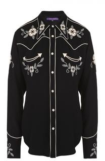 Блуза прямого кроя с контрастной цветочной вышивкой Ralph Lauren
