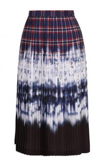 Плиссированная юбка-миди с контрастным принтом Altuzarra