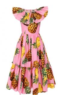 Приталенное платье-миди с ярким принтом и оборками Dolce & Gabbana