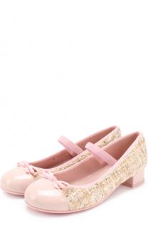 Комбинированные туфли с лаковой отделкой и декором Pretty Ballerinas