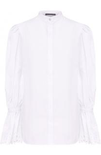 Блуза с рукавом-фонарик и кружевной отделкой Alexander McQueen