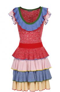 Вязаное мини-платье с разноцветными оборками Alexander McQueen
