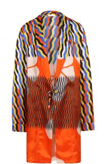 Удлиненная блуза с запахом и принтом Dries Van Noten