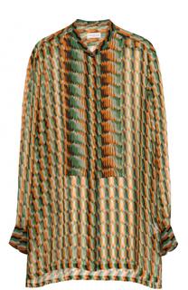 Удлиненная шелковая блуза с принтом Dries Van Noten
