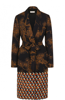 Пальто с принтом и поясом Dries Van Noten