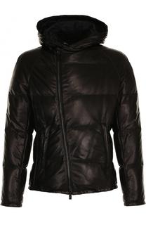 Утепленная кожаная куртка на молнии с капюшоном Giorgio Armani