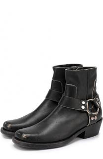 Кожаные ботинки с декорированными ремешками Balenciaga