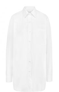 Удлиненная хлопковая блуза в полоску Dries Van Noten
