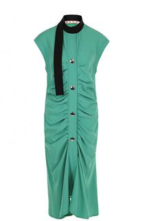 Платье-миди с драпировкой и контрастным воротником Marni