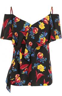Шелковый топ с открытыми плечами и цветочным принтом Diane Von Furstenberg