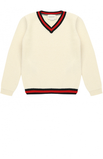 Кашемировый пуловер с контрастной отделкой Gucci