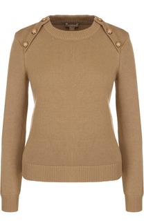 Кашемировый пуловер прямого кроя с круглым вырезом Michael Kors