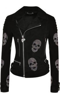 Замшевая куртка с косой молнией и стразами Philipp Plein