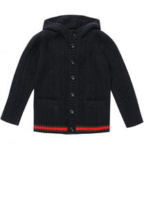 Шерстяной кардиган фактурной вязки с капюшоном и контрастной отделкой Gucci